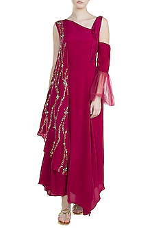 Pink Embroidered Asymmetrical dress by Tisharth by Shivani