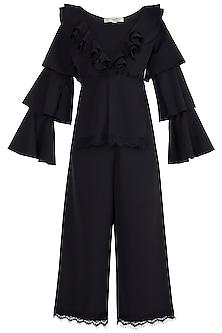 Black Ruffled Top With High Waist Pants by Tisharth by Shivani
