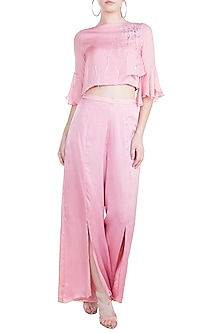 Dusty Pink Embroidered Crop Top With Slit Pants by Tisharth by Shivani