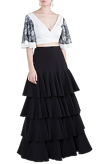 Black Tiered Skirt With Wrap Top by Tisharth by Shivani