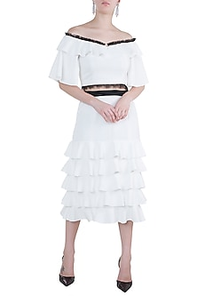 White Crop Top With Tiered Skirt by Tisharth by Shivani