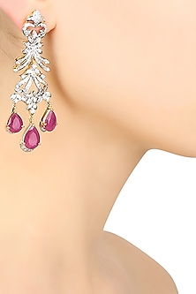 Gold and Rhodium Finish Red Stones and Zircons Dangler Earrings