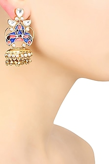 Gold Finish Blue Annd Pink Meena Pearl Earrings