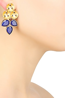 Gold Finish Sapphire Stone Three Leaf Cluster Earrings