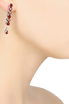 Silver Finish Garnet Stone Hanging Earrings