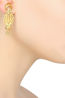 Gold Finish Filigree Work Earrings