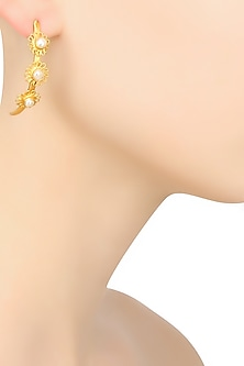 Gold Finish Pearl Filigree Work Flower Motifs Earrings