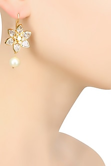 Gold Finish Crystal Stones Flower Design Fish Hook Earrings