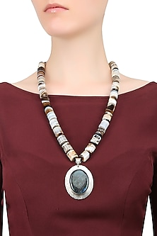 Labrodite and Onyx Stone Silver String Necklace