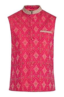 Red Embroidered Nehru Jacket