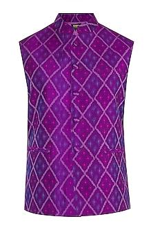 Purple Ikat Nehru Jacket