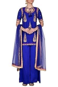 Blue Embroidered Sharara Set by Tisha Saksena