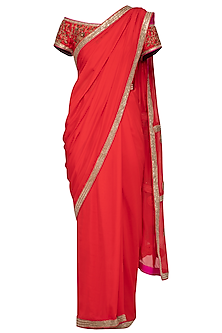 Red Embroidered Saree Set