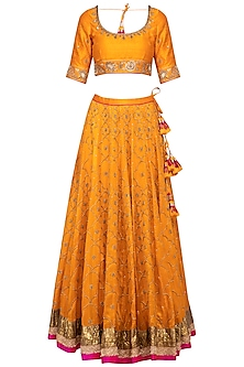 Turmeric Yellow Embroidered Lehenga Set