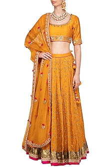 Turmeric Yellow Embroidered Lehenga Set by Tisha Saksena