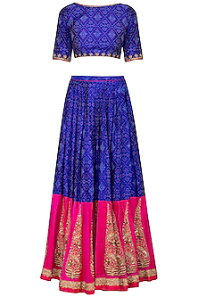 Royal Blue Embroidered Ikat Lehenga Set