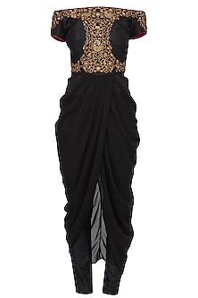Black Embroidered Off Shoulder Drape Top With Pants