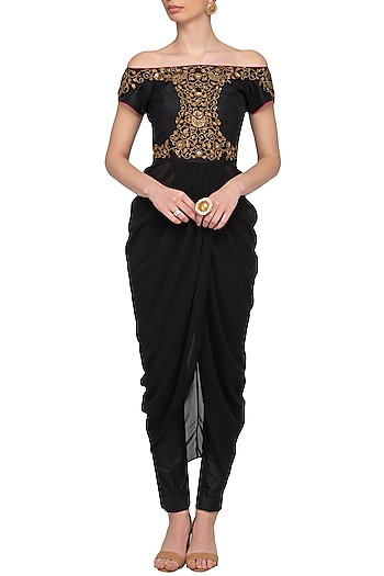 Black Embroidered Off Shoulder Drape Top With Pants by Tisha Saksena
