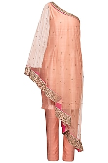 Blush Pink Embroidered One Shoulder Tunic With Attached Cape & Pants