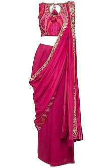 Cranberry Embroidered Pant Saree Set