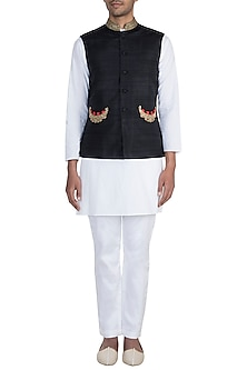 Black Hand Embroidered Nehru Jacket by Tisha Saksena Men