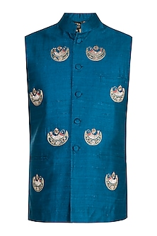 Blue Hand Embroidered Nehru Jacket by Tisha Saksena Men