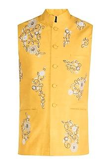Yellow Hand Embroidered Nehru Jacket by Tisha Saksena Men