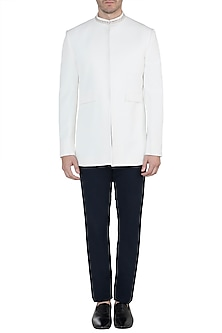 Ivory Embellished Bandhgala Jacket by TISA