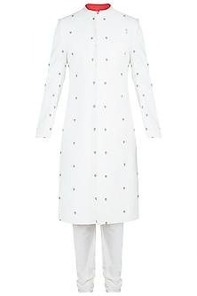 Off White Embroidered Sherwani Kurta