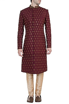 Burgundy Embroidered Sherwani Kurta by TISA