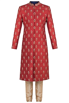Rust Orange Embroidered Sherwani Kurta by TISA