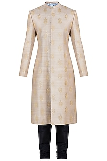 Earthy Beige Embroidered Sherwani Kurta