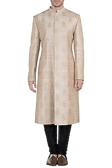 Earthy Beige Embroidered Sherwani Kurta by TISA