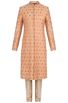 Earthy Peach Embellished Sherwani Kurta by TISA