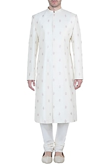 Ivory & Dusky Pink Embroidered Sherwani Kurta by TISA
