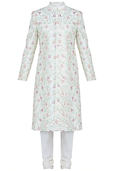 Ivory Floral Embroidered Sherwani Kurta by TISA