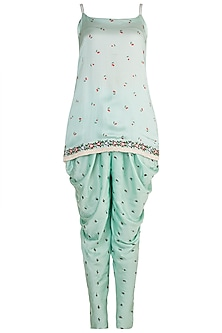 Mint Blue Embroidered & Printed Kurta Set by The little black bow
