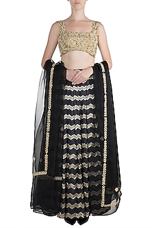 Navy Blue Embroidered Lehenga Set by The little black bow