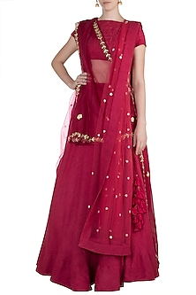 Red Embroidered Bohemian Bridal Lehenga Set by The little black bow