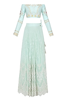 Mint Off Shoulder Vintage Crop Top and Lace Skirt Set by The little black bow