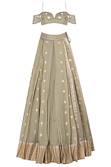 Olive Green Floral Embroidered Lehenga Set