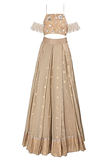 Beige Floral Embroidered Lehenga Set