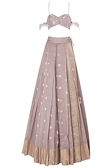 Lilac Floral Embroidered Tassels Lehenga Set