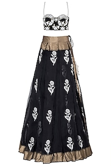 Black and Ivory Roses Embroidered Lehenga Set by The little black bow