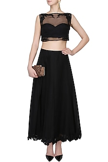 Black Floral Work Sheer Crop Top And Skirt Set by The little black bow