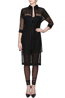 Black Sheer Shirt, Fitted Dress And Tights Set by The little black bow