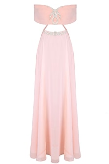 Pink Rose Motifs Off Shoulder Maxi With Tights And Dupatta