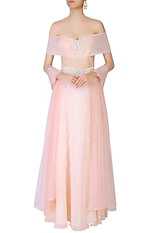 Pink Rose Motifs Off Shoulder Maxi With Tights And Dupatta by The little black bow