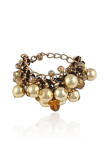 Gold Finish Beads Bracelet by TI Couture By Tania M Kathuria