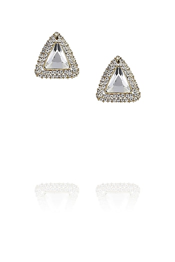 Triangle shape stud earrings by TI Couture By Tania M Kathuria